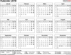 Vorlage 7: Kalender 2018 für Excel, Querformat, 1 Seite