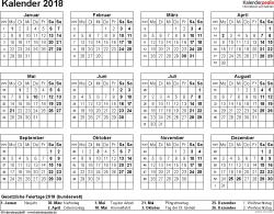Vorlage 8: Kalender 2018 für Word, Querformat, 1 Seite