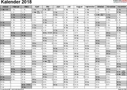 Vorlage 1: Kalender 2018 für Excel, Querformat, 1 Seite, Monate nebeneinander, in Grautönen