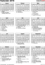 Vorlage 16: Kalender 2019 als PDF-Datei, Hochformat, 1 Seite, mit Feiertagen und Festtagen
