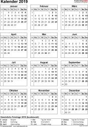 Vorlage 14: Kalender 2019 für Word, Hochformat, 1 Seite