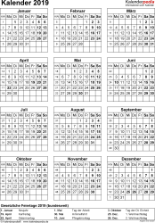 Vorlage 15: Kalender 2019 für Word, Jahresansicht, Hochformat, 1 Seite