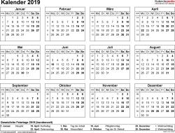 Vorlage 7: Kalender 2019 als PDF-Datei, Querformat, 1 Seite