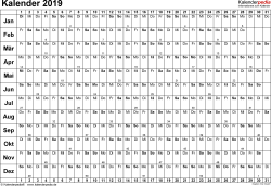 Vorlage 3: Kalender 2019 für Word, Querformat, 1 Seite, Tage nebeneinander (linear)