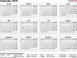 Vorlage 8: Kalender 2019 als PDF-Datei, Querformat, 1 Seite