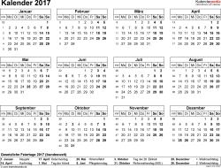 Vorlage 7: Kalender 2017 für Excel, Querformat, 1 Seite