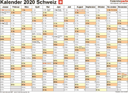 Vorlage 2: Kalender 2020 für die <span style=white-space:nowrap;>Schweiz als Microsoft Word-Datei (.docx), Querformat, 1 Seite, Monate nebeneinander