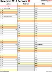 Vorlage 12: Kalender 2015 für <span style=white-space:nowrap;>Excel, Hochformat, 4 Seiten, Quartal auf einer Seite