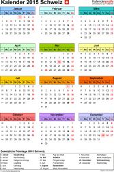 Vorlage 14: Kalender 2015 für Excel, Jahresansicht, Hochformat, 1 Seite, in Farbe