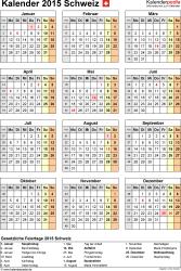 Vorlage 15: Kalender 2015 für <span style=white-space:nowrap;>Excel, Hochformat, 1 Seite, Jahresübersicht