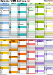 Vorlage 9: Kalender 2015 für <span style=white-space:nowrap;>Excel, Hochformat, 1 Seite, nach Jahreshälften untergliedert