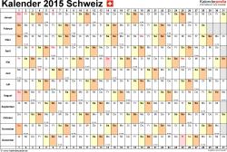 Vorlage 6: Kalender 2015 für <span style=white-space:nowrap;>Excel, Querformat, 1 Seite, Tage nebeneinander