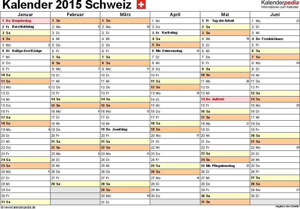 Vorlage 3: Kalender 2015 für <span style=white-space:nowrap;>Excel, Querformat, 2 Seiten, 1. Halbjahr (Januar bis Juni 2015) & 2. Halbjahr (Juli bis Dezember 2015) auf einen Blick