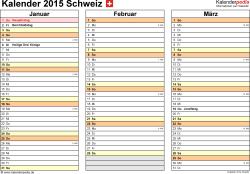 Vorlage 5: Kalender 2015 für <span style=white-space:nowrap;>Excel, Querformat, 4 Seiten, jedes Quartal auf einer Seite