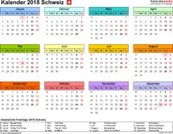 Vorlage 7: Kalender 2015 für <span style=white-space:nowrap;>Excel, Querformat, 1 Seite, Jahresübersicht, in Farbe