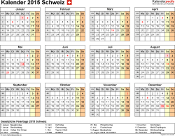 Vorlage 8: Kalender 2015 für <span style=white-space:nowrap;>Excel, Querformat, 1 Seite, Jahresübersicht