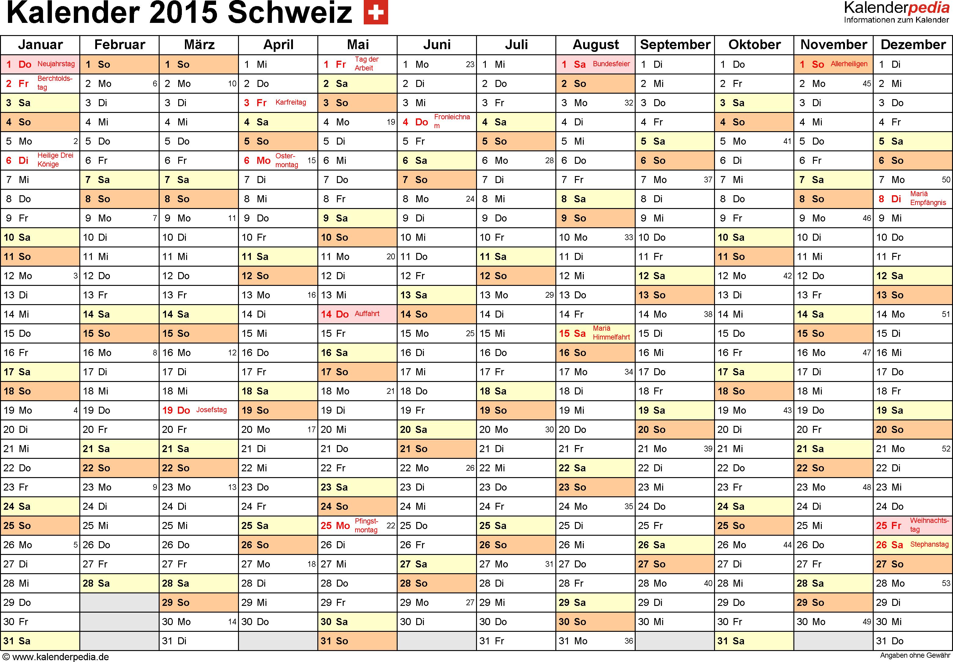 Vorlage 2: Kalender 2015 für <span style=white-space:nowrap;>Excel, Querformat, 1 Seite, Monate nebeneinander