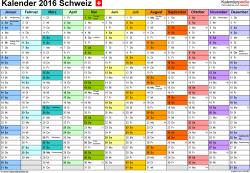 Vorlage 1: Kalender 2016 für Excel, Querformat, 1 Seite, Monate nebeneinander, jeder Monate in anderer Farbe