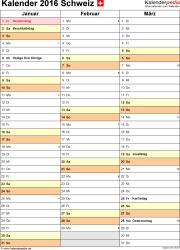 Word-Kalender 2016 Vorlage 12: Hochformat, 4 Seiten, Quartal auf einer Seite