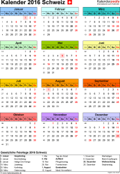 Vorlage 14: Kalender 2016 für Excel, Hochformat, 1 Seite, in Farbe