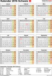 Word-Kalender 2016 Vorlage 15: Hochformat, 1 Seite