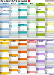 Vorlage 9: Kalender 2016 für Excel, Hochformat, 1 Seite, nach Jahreshälften untergliedert