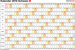 Vorlage 6: Kalender 2016 als PDF-Datei, Querformat, 1 Seite, Tage nebeneinander
