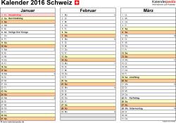 Vorlage 6: Kalender 2016 für Excel, Querformat, 4 Seiten, jedes Quartal auf einer Seite