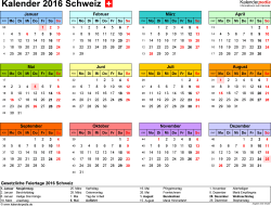 Vorlage 7: Kalender 2016 für Excel, Querformat, 1 Seite, in Farbe
