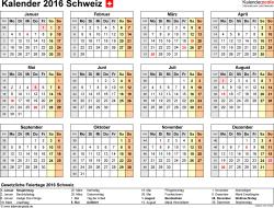 Word-Kalender 2016 Vorlage 8: Querformat, 1 Seite