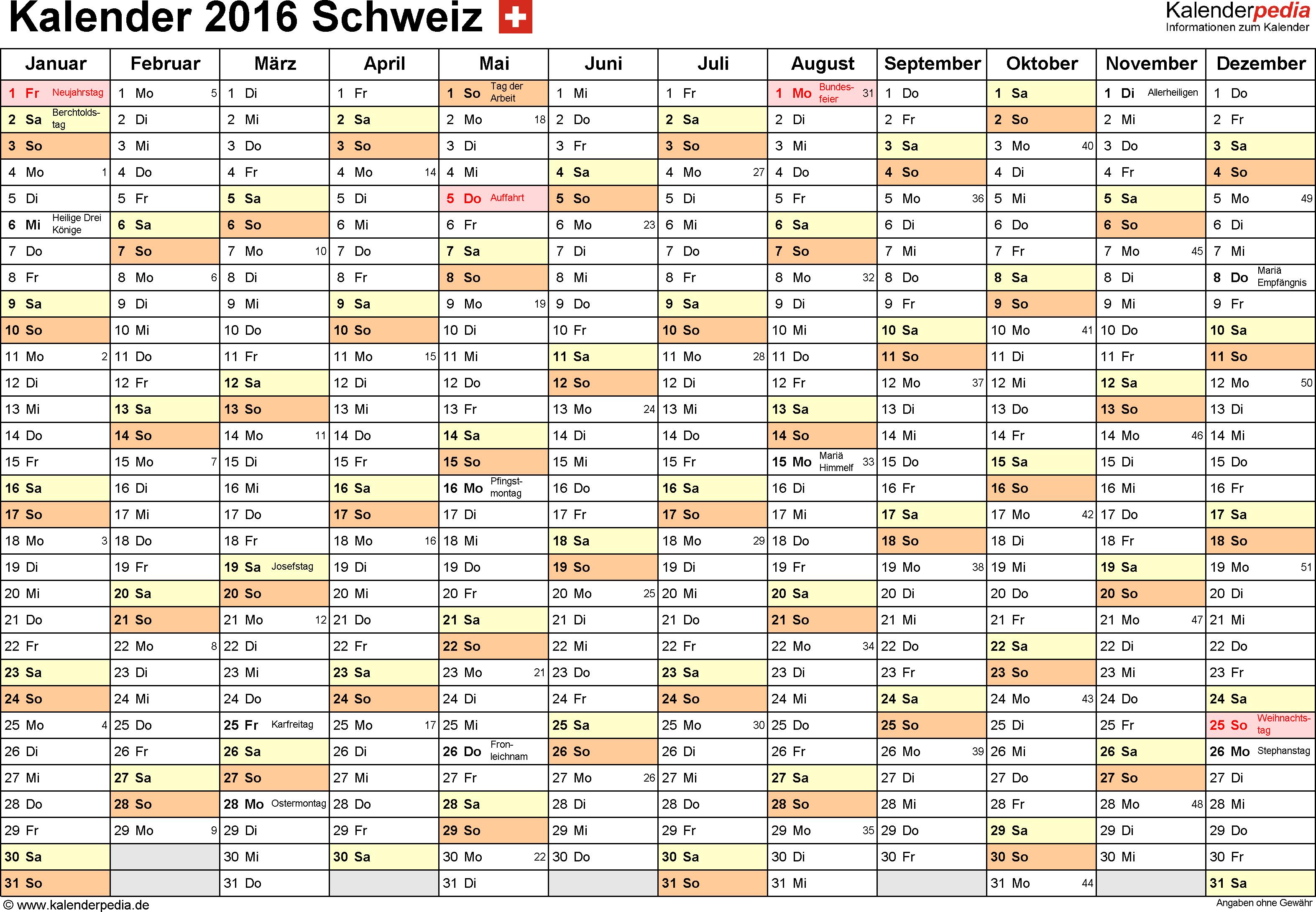 Word-Kalender 2016 Vorlage 2: Querformat, 1 Seite, Monate nebeneinander