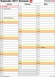 Vorlage 12: Kalender 2017 für die <span style=white-space:nowrap;>Schweiz als PDF-Datei, Hochformat, 4 Seiten, Quartal auf einer Seite