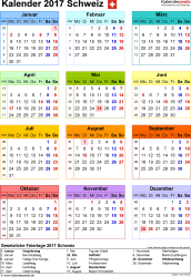 Vorlage 14: Kalender 2017 für die Schweiz  im PDF-Format, Jahresansicht, Hochformat, 1 Seite, in Farbe