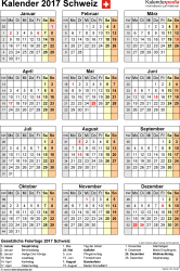 Vorlage 15: Kalender 2017 für Excel, Hochformat, 1 Seite