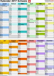 Vorlage 9: Kalender 2017 für die <span style=white-space:nowrap;>Schweiz als PDF-Datei, Hochformat, 1 Seite, nach Jahreshälften untergliedert
