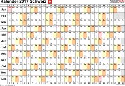 Vorlage 6: Kalender 2017 für die <span style=white-space:nowrap;>Schweiz als PDF-Datei, Querformat, 1 Seite, Tage nebeneinander