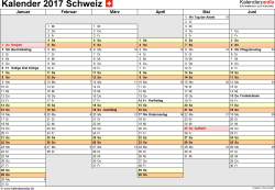 Vorlage 4: Kalender 2017 für die <span style=white-space:nowrap;>Schweiz als PDF-Datei, Querformat, 2 Seiten, Wochentage linear/nebeneinander, 1. und 2. Jahreshälfte auf jeweils eigener Seite