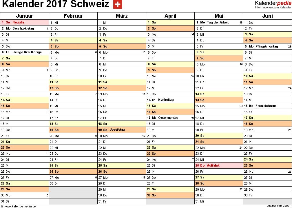 Vorlage 3: Kalender 2017 für die <span style=white-space:nowrap;>Schweiz als PDF-Datei, Querformat, 2 Seiten, 1. Halbjahr (Januar bis Juni 2017) & 2. Halbjahr (Juli bis Dezember 2017) auf einen Blick