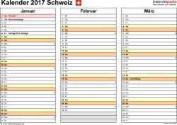 Vorlage 5: Kalender 2017 für die Schweiz  im PDF-Format, Querformat, 4 Seiten, jedes Quartal auf einer Seite