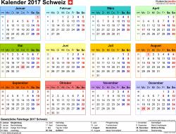 Vorlage 7: Kalender 2017 für die <span style=white-space:nowrap;>Schweiz als PDF-Datei, Querformat, 1 Seite, Jahresübersicht, in Farbe