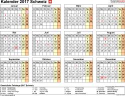 Vorlage 8: Kalender 2017 für die <span style=white-space:nowrap;>Schweiz als PDF-Datei, Querformat, 1 Seite, Jahresübersicht