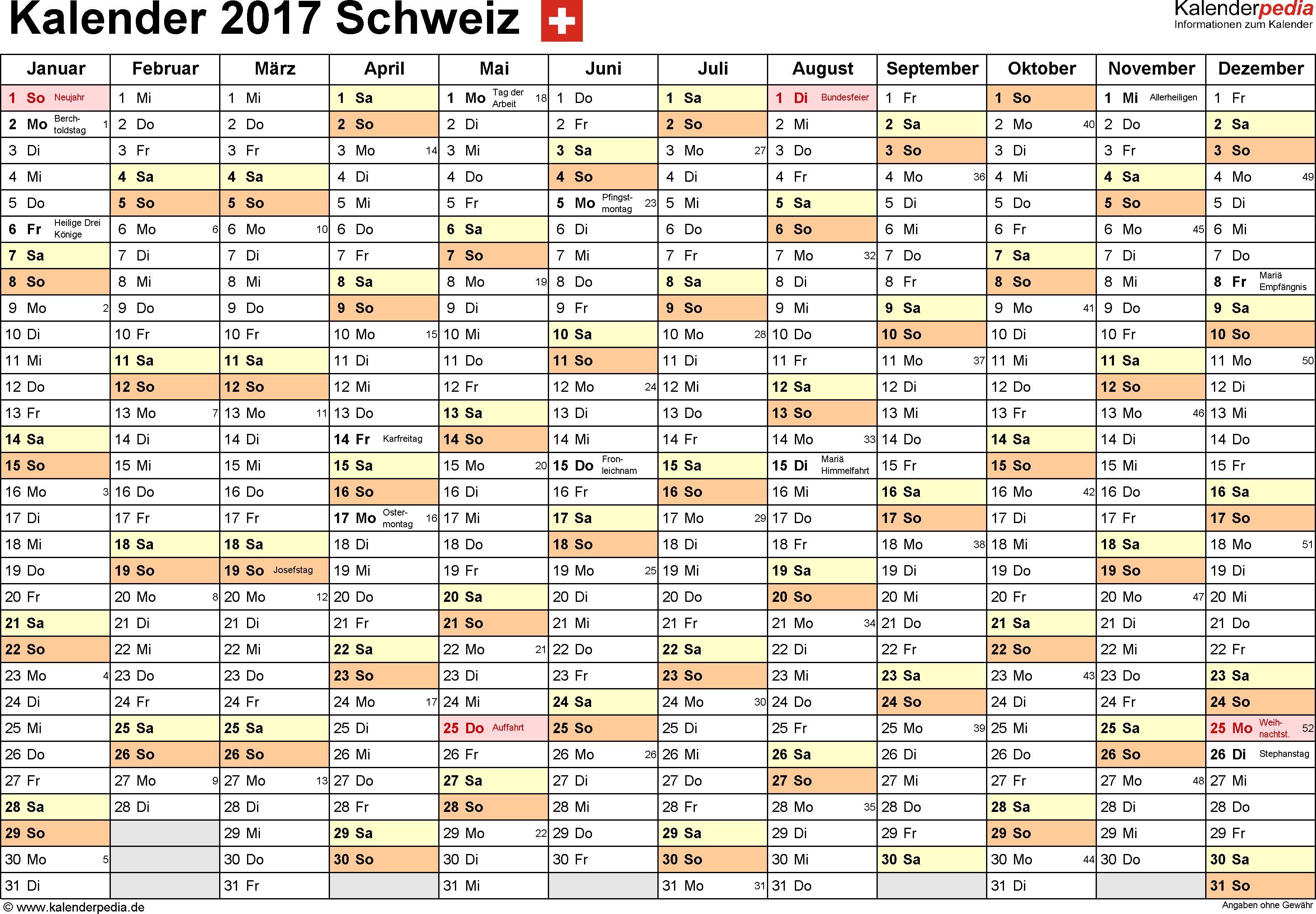 Vorlage 2: Kalender 2017 für die <span style=white-space:nowrap;>Schweiz als PDF-Datei, Querformat, 1 Seite, Monate nebeneinander