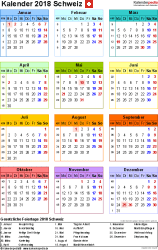 Vorlage 14: Kalender 2018 für PDF, Hochformat, 1 Seite, in Farbe