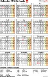 Vorlage 15: Kalender 2018 für PDF, Hochformat, 1 Seite