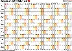 Vorlage 3: Kalender 2018 für Excel, Querformat, 1 Seite, Tage nebeneinander