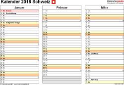 Vorlage 6: Kalender 2018 für PDF, Querformat, 4 Seiten, jedes Quartal auf einer Seite