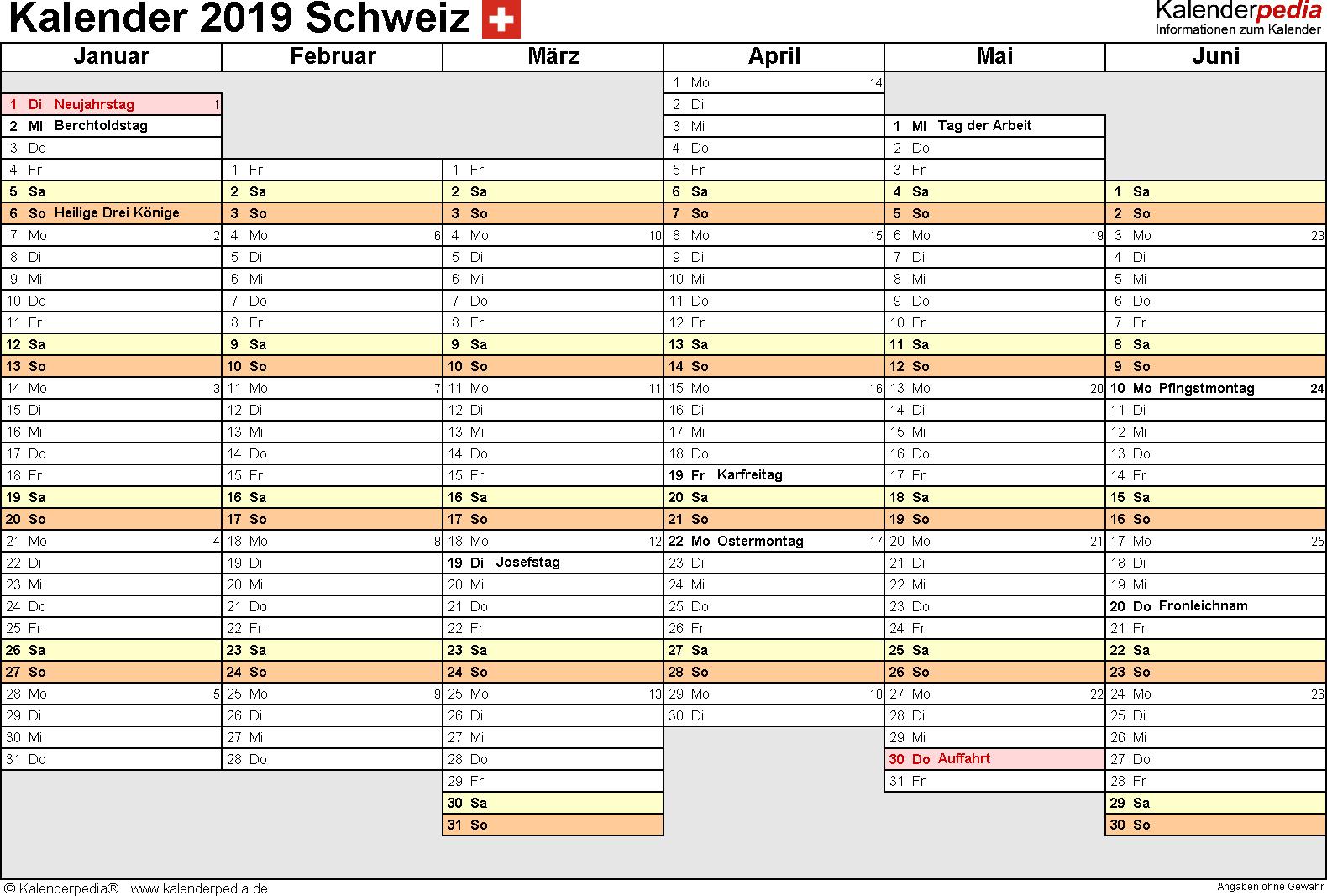 Vorlage 4: Kalender 2019 für die Schweiz  im Microsoft Excel-Format, Querformat, 2 Seiten, Wochentage linear/nebeneinander, 1. Jahreshälfte und 2. Jahreshälfte auf jeweils eigener Seite