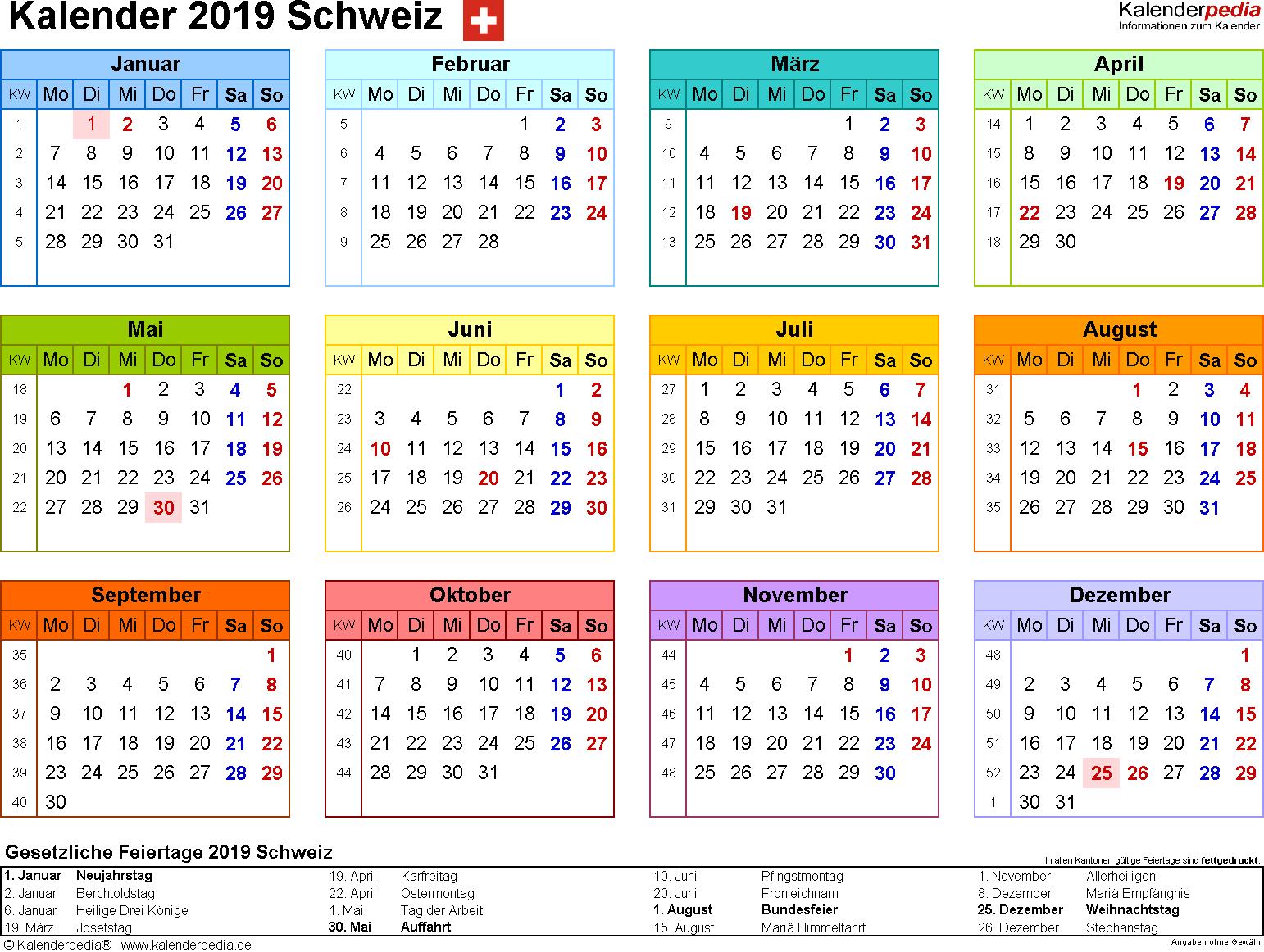 Vorlage 8: Kalender 2019 für die <span style=white-space:nowrap;>Schweiz als Microsoft Excel-Datei (.xlsx), Querformat, 1 Seite, Jahresübersicht, in Farbe