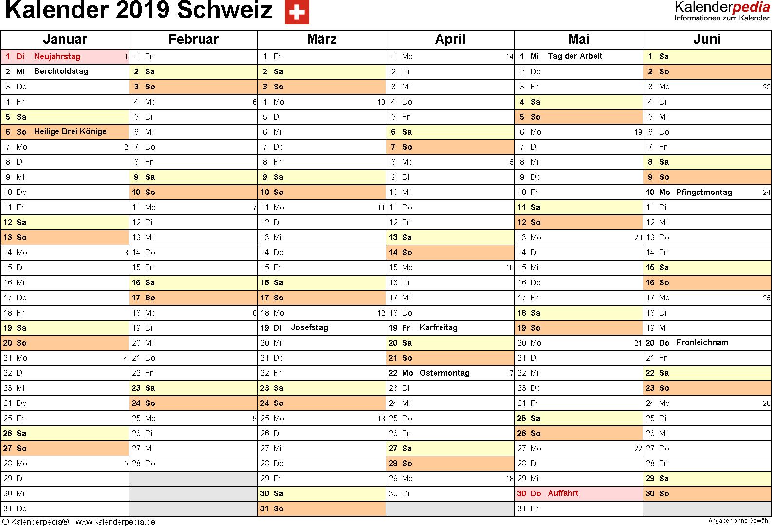 Vorlage 3: Kalender 2019 für die <span style=white-space:nowrap;>Schweiz als Microsoft Excel-Datei (.xlsx), Querformat, 2 Seiten, 1. Halbjahr (Januar bis Juni 2019) & 2. Halbjahr (Juli bis Dezember 2019) auf einen Blick