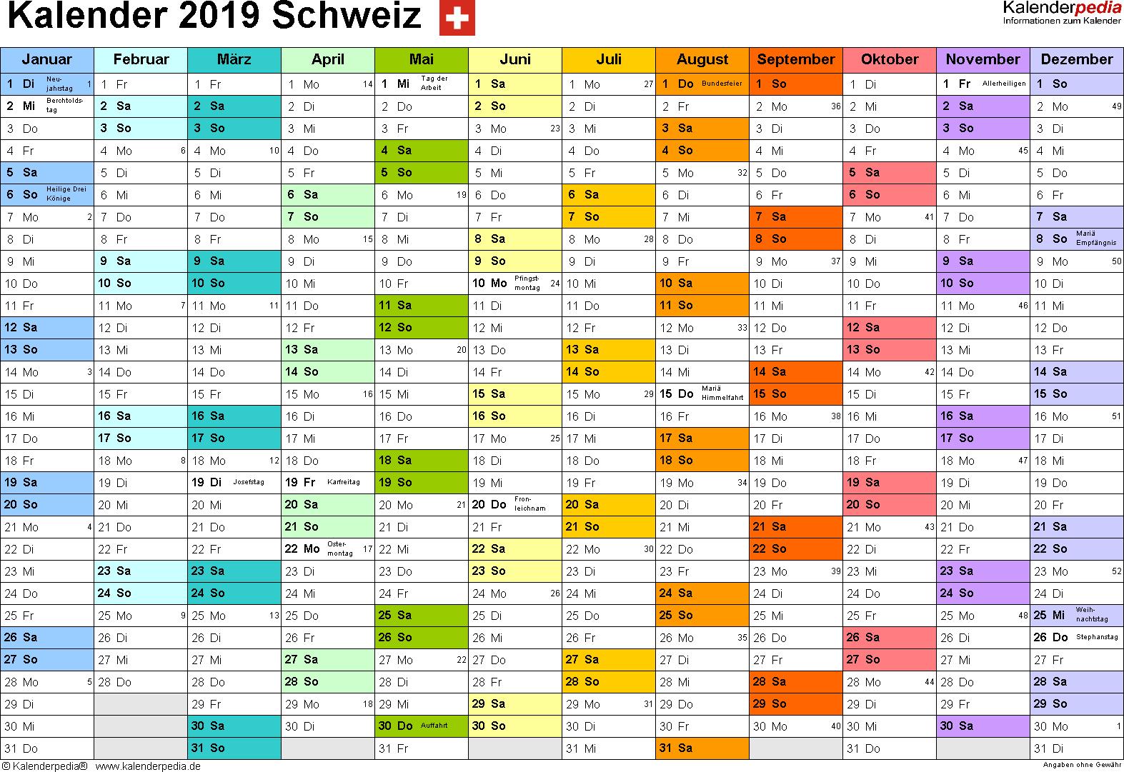 Vorlage 1: Kalender 2019 für die <span style=white-space:nowrap;>Schweiz als PDF-Datei, Querformat, 1 Seite, Monate nebeneinander, jeder Monate in anderer Farbe